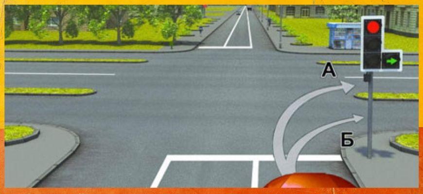 Билет ПДД №2: По какой траектории можно продолжить движение?