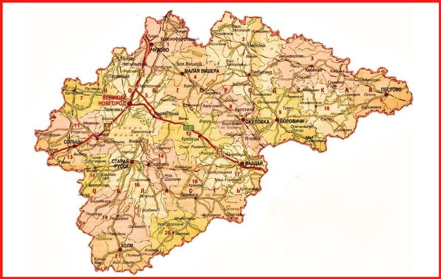 Карта дорог Новгородской области