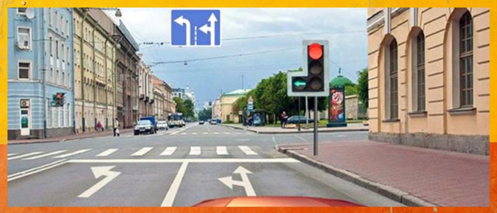 Билет ПДД №2 (Вопрос 6): В каких направлениях Вам разрешено продолжить движение?