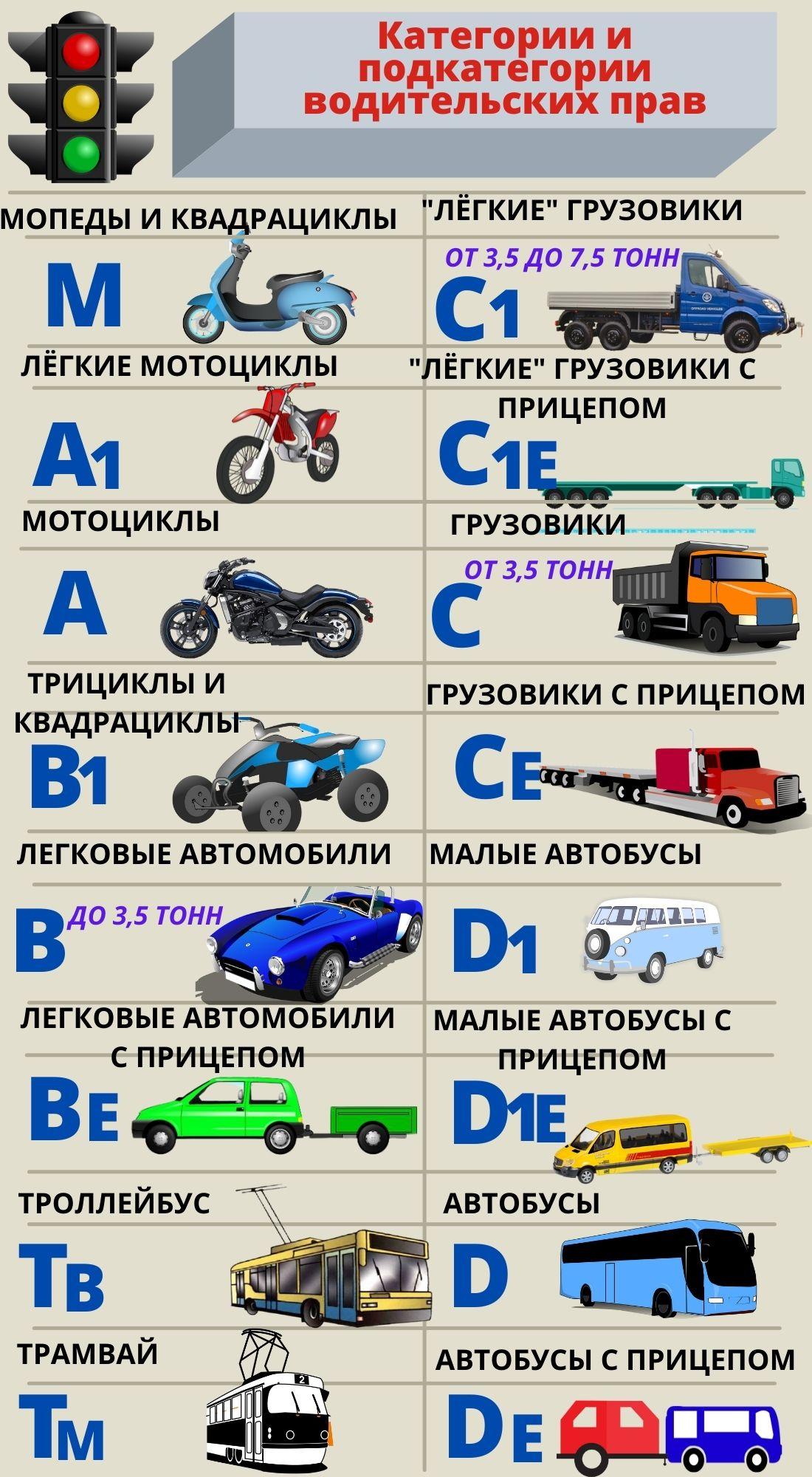 Категории водительских прав в 2021 году в таблице
